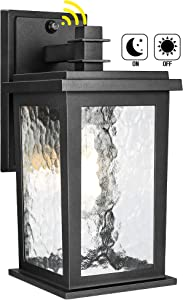 Dusk to Dawn Sensor Outdoor Wall Lantern, Matte Black Exterior Wall Sconce Light Fixture with Water Glass Shade, E26 Base, Waterproof Anti-Rust Wall Mount Porch Lighting for Entryway Garage Doorway