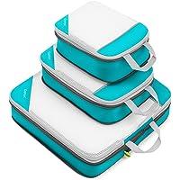 Compression Packing Cubes 3/4er Set, Gonex Kleidertaschen 4-teilig Verpackungswürfel, Kleidertaschen Set, Kofferorganizer Reise Würfel