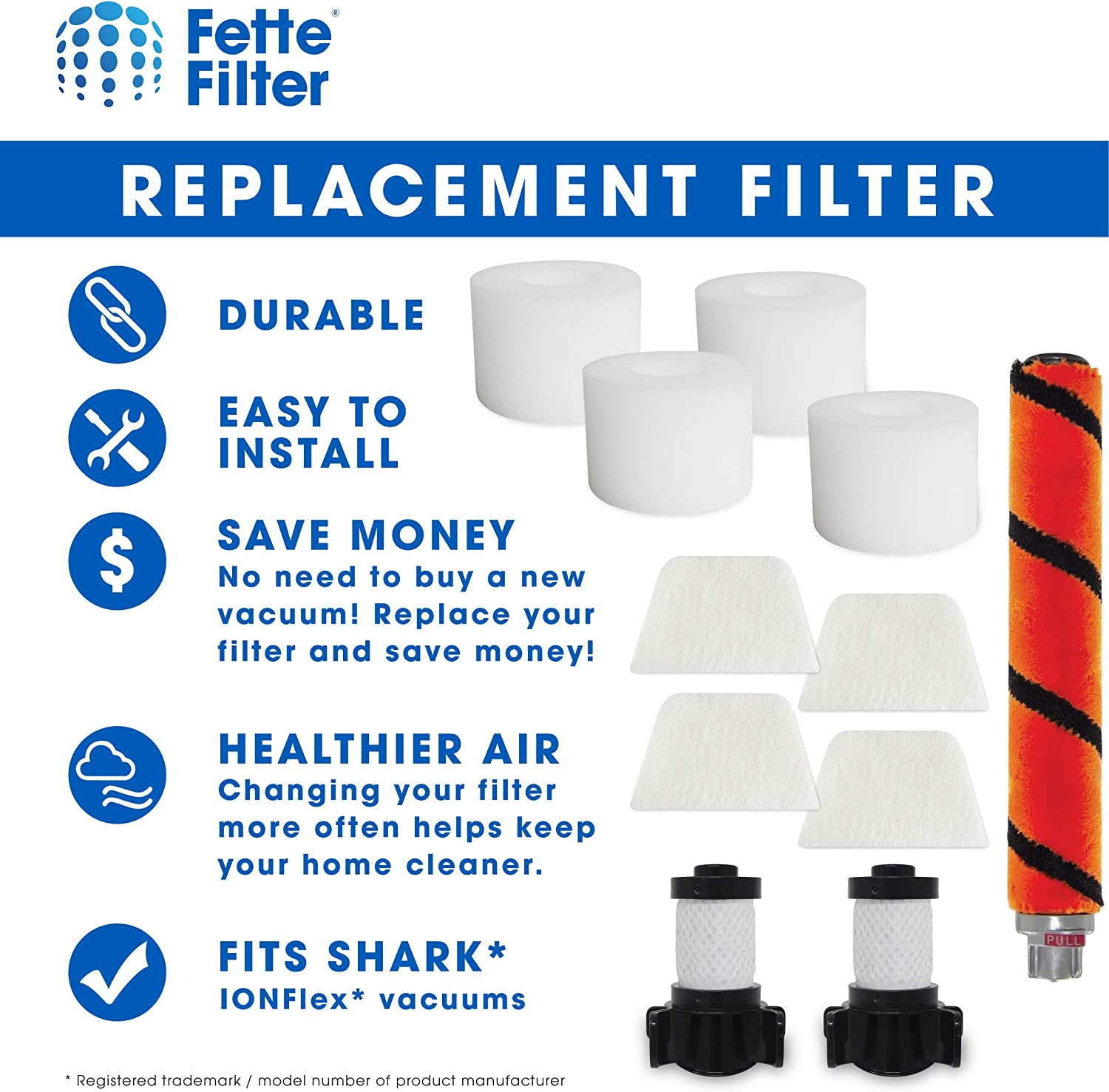Fette Filter Replacement Kit Compatible with Select Shark ION Flex DuoClean Combo Pack - 1 Soft Brush Roll, 2 Foam /& Felt Filter Kit, 2 Post-Motor Filter