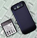 Bastex 4800 mAh batería extendida para Galaxy SIII GT-I9300, Samsung Galaxy S3 T999 (t-mobile)/i747 (en y T)/i535 (Verizon)/R530 (EE.UU, Cellular)/L710 (Sprint) + azul oscuro diseño de (sin NFC)