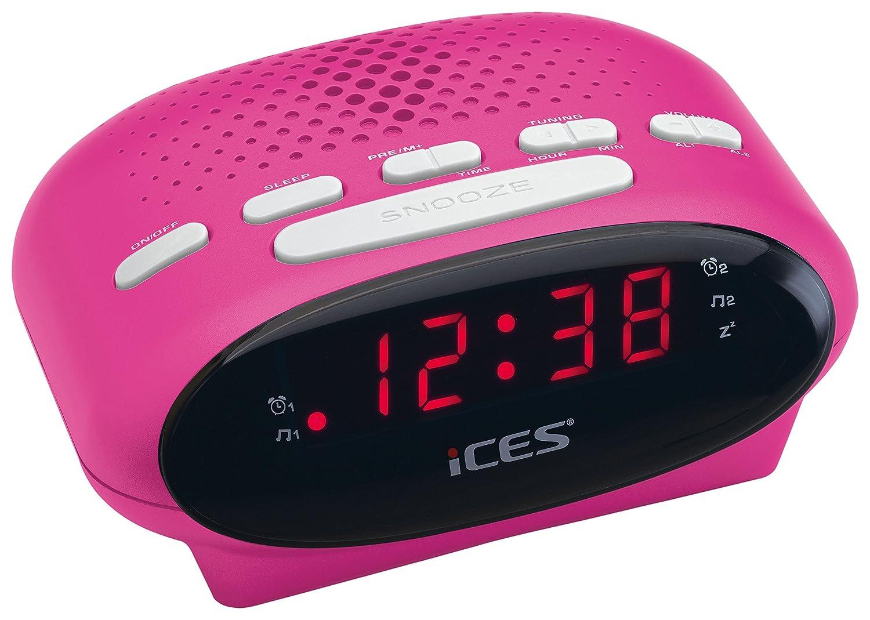 Ices ICR-210 Reloj Rosa - Radio (Reloj, LED, FM, PLL)