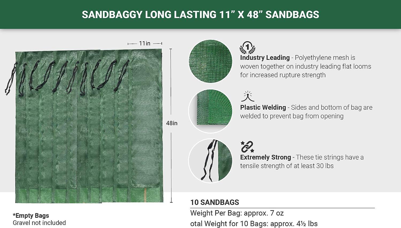 Pack of 5 Water Curb Flood Water Barrier 11 x 48 Long-Lasting Sandbags Tent Sandbags Monofilament Sand Bag Sandbags for Flooding Store Bags Sandbaggy Lasts 1-2 Yrs
