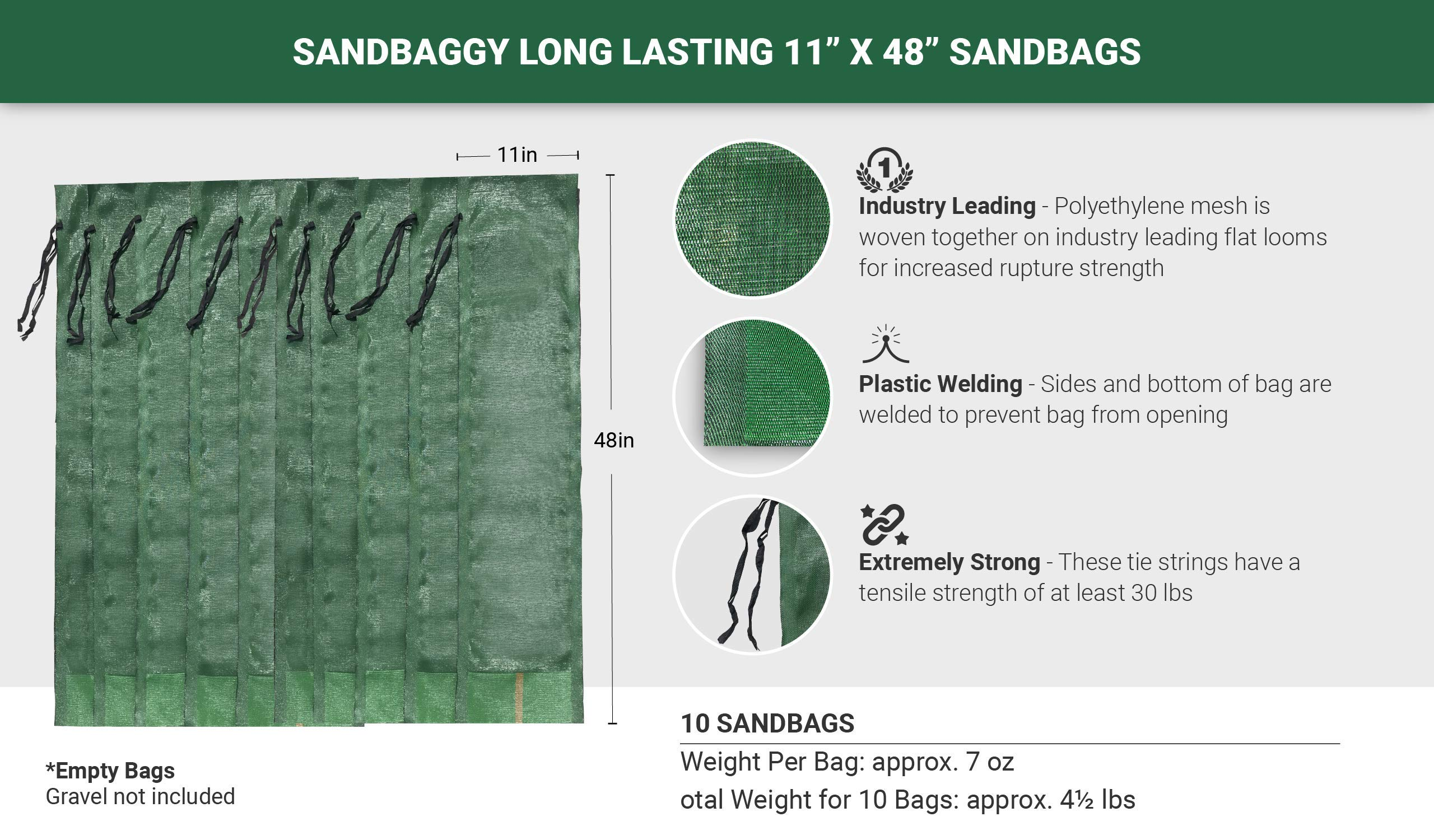 Sandbaggy - 11'' x 48'' Long-Lasting Sandbags - Lasts 1-2 Yrs - Sandbags for Flooding - Monofilament - Sand Bag - Flood Water Barrier - Water Curb - Tent Sandbags - Store Bags (Pack of 10) by Sandbaggy