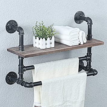 Weven Industrial Pipe Bathroom Shelves Wall Mounted With 2 Towel