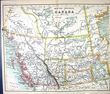 Carte Canada Manitoba.Colombie Britannique Occidentale Antique Alberta Manitoba De La