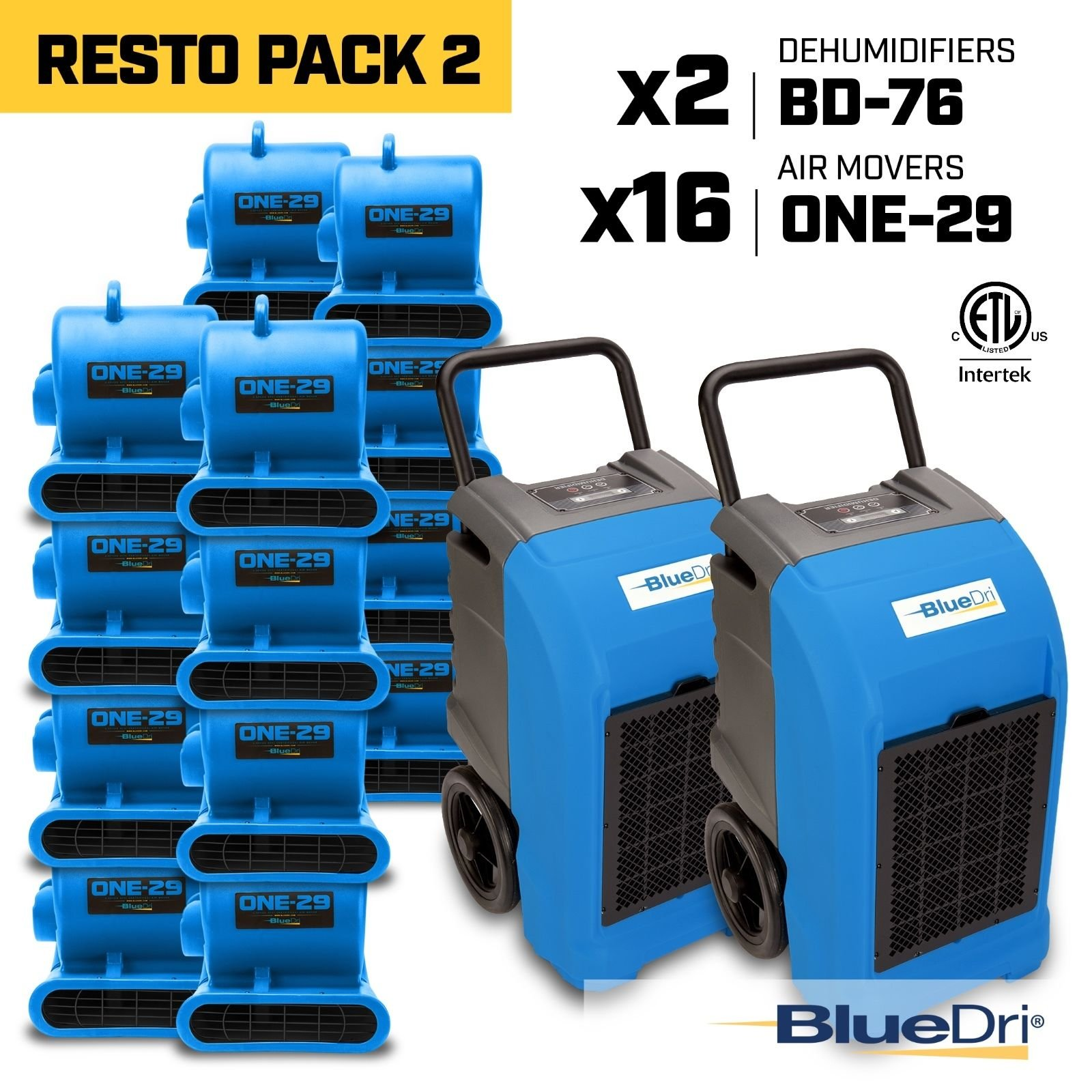 Blue BlueDri RestoPack2 includes 2x 76 Pint PPD Stackable Commercial Dehumidifiers 16x 1/3 HP 3 Speed 2.9 Amp One-29 Stackable Air Mover