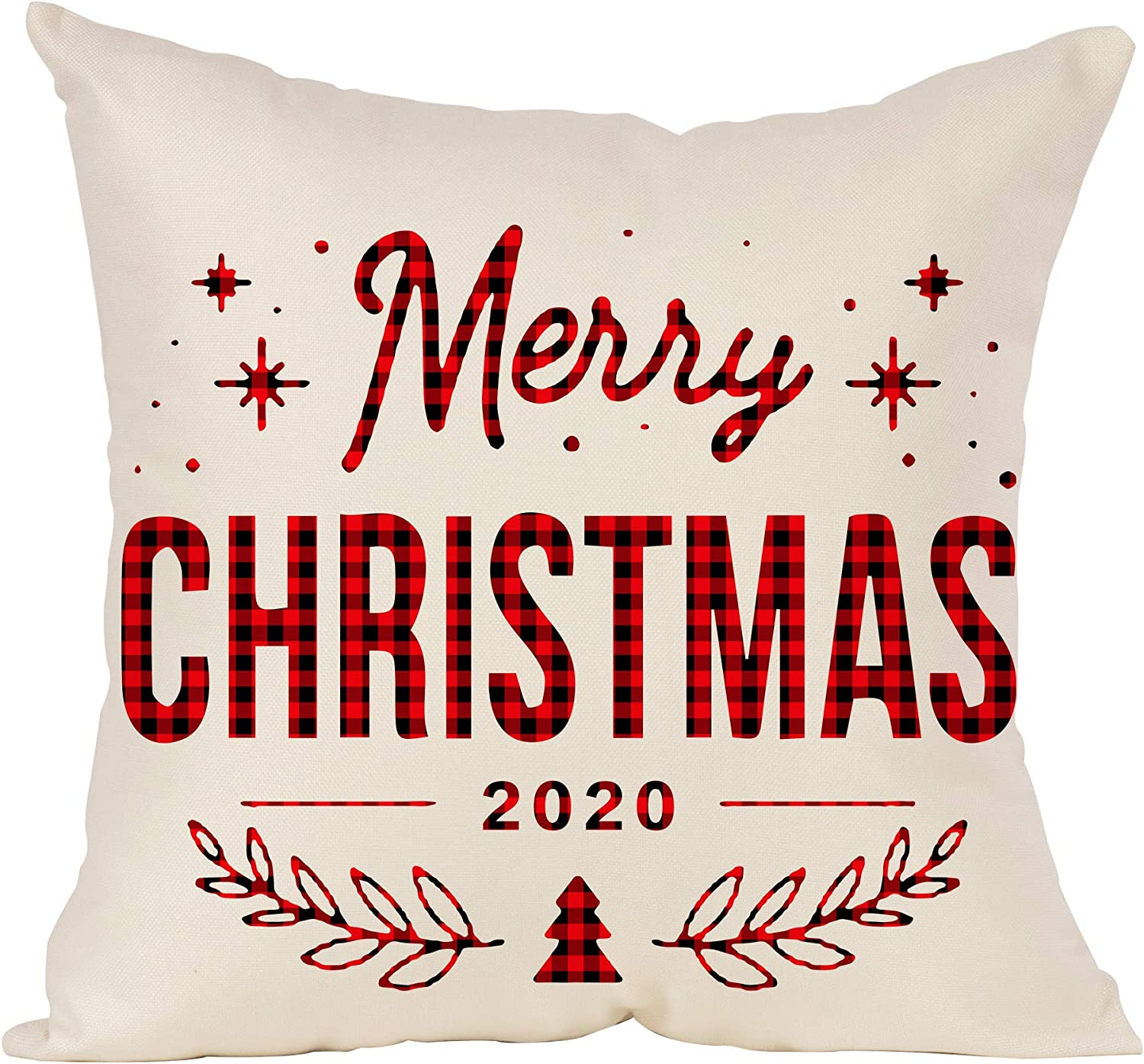 Ditmeer Merry Christmas 2020 Throw Pillow Cover 18X18 Warmy Décor House Sofa Couch Indoor Garden Cushion Party Case Red Christmas Pillow Cover Set of 1