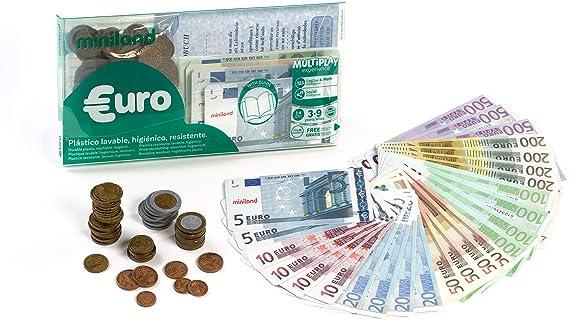 Miniland- Juego Didáctico Set Euro Cartera 28 Billetes y 80 Monedas, Color Real (154170): Amazon.es: Juguetes y juegos