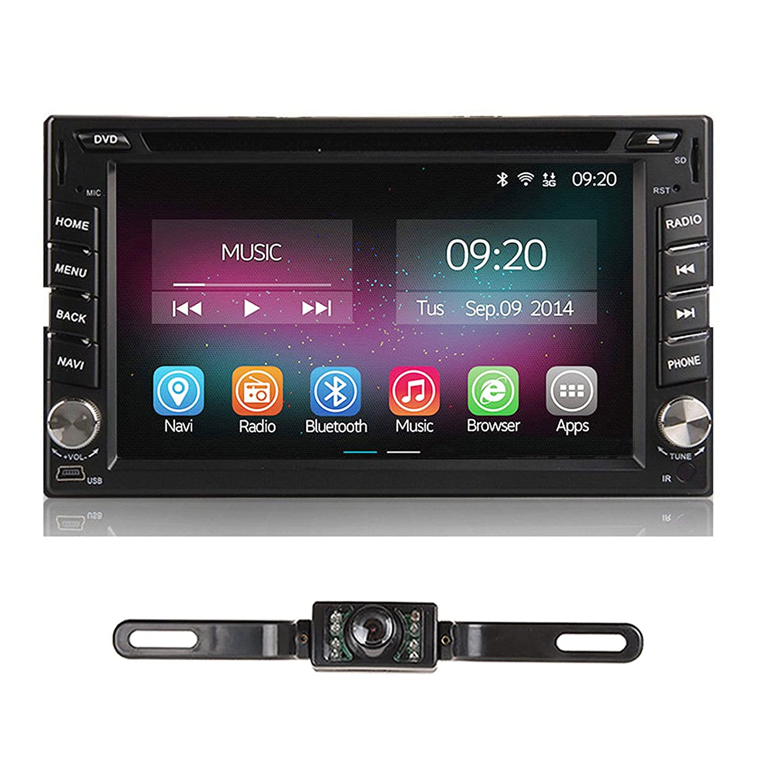 amazon com car stereo with backup camera 6 2 inch car radio androidamazon com car stereo with backup camera 6 2 inch car radio android 7 1 car dvd player double 2 din touch screen built in bluetooth gps navigation for car
