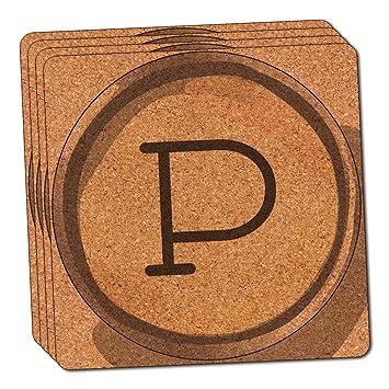 Letra P clave de máquina de escribir fina de corcho juego de posavasos de 4: Amazon.es: Hogar