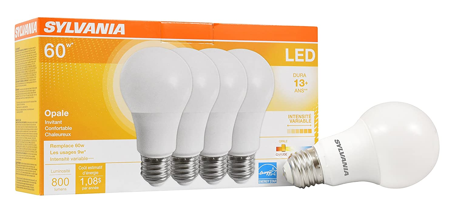 SYLVANIA Home Lighting 78036 Sylvania Dimmable Led Light Bulb, 9 W, 120 V, 800 Lumens, 2700 K, CRI 80, 2.375 in Dia X 4.19 in L, 4 Pack, Soft White 2700K, 4 Pack