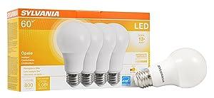 SYLVANIA Home Lighting 78036 Sylvania Dimmable Led Light Bulb, 9 W, 120 V, 800 Lumens, 2700 K, CRI 80, 2.375 in Dia X 4.19 in L, 4 Pack, Soft White 2700K, 4 Pack