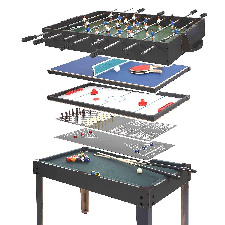 Mendler Table Multi-Jeux HWC-E12, 7 Jeux, 82x107x60cm ~ Noir