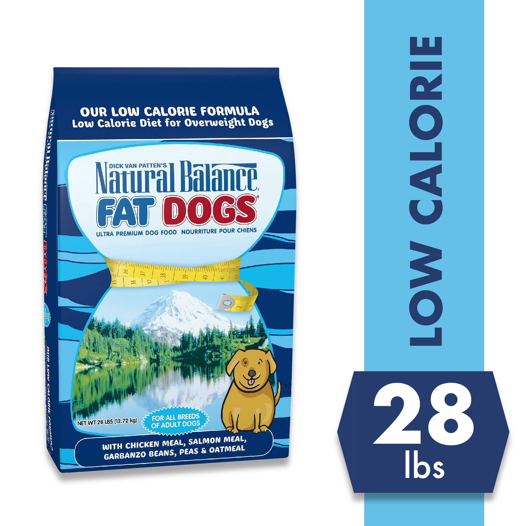 Natual Balance Fat Dogs Low Calorie Adult Dog Food with Chicken Meal, Salmon Meal, Garbonzo Bean, Peas & Oat Groats, 28 Pounds by Natural Balance