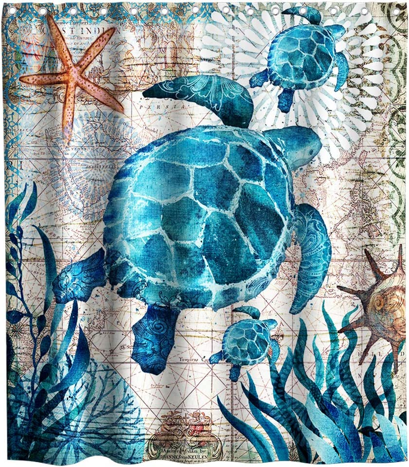 Lifeasy Nautical Blue Sea Turtles Beach Theme Fabric Shower Curtain Sets for Ocean Bathroom Decor with Hooks Waterproof Washable 70 x 70 inches Teal