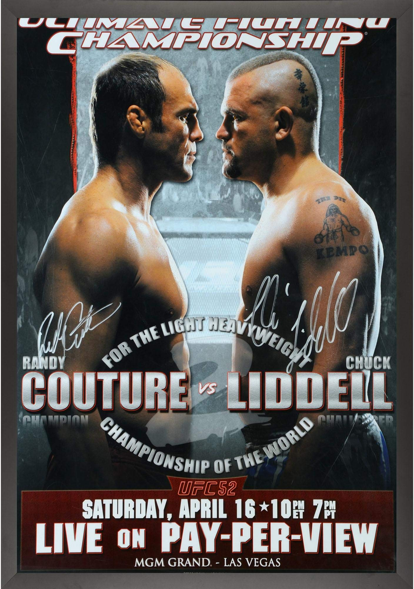 "UFC 52 Couture vs. Liddell Framed Autographed 27"" x 39"" 16 Signature Fight Poster Fanatics Authentic Certified"