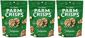 ParmCrisps Jalapeno 100% Cheese Crisps - Keto Friendly, Gluten Free, 1.75 Ounce Bag, Pack of 3