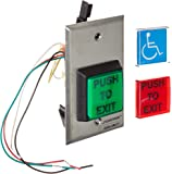 """Securitron Square Emergency Exit Button, Single Gang, 2"""" Length, 2"""" Width"""