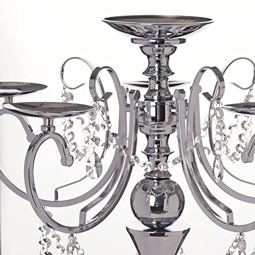 Tableclothsfactory 27.5″ Tall Silver Metal Candelabra Chandelier Votive Candle Holder Wedding Centerpiece