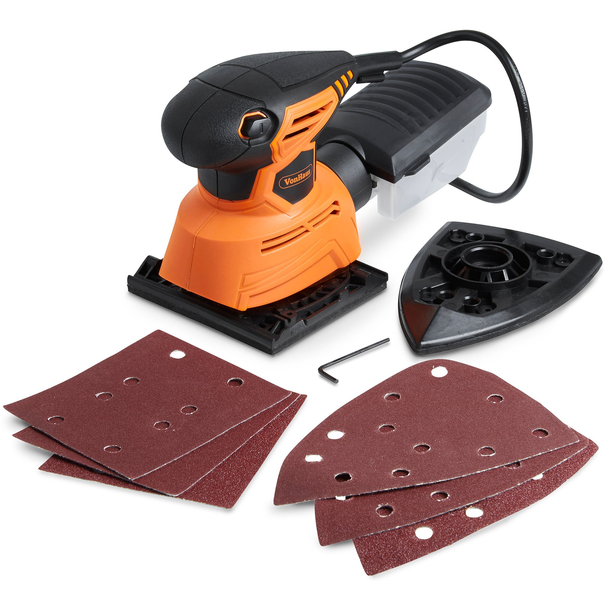 VonHaus 1.1A 2 in 1 Sheet & Detail Sander - 14000 RPM with 6 Sanding Sheets, Compact Lightweight Design with Dust Extraction System and 6ft Power Cord by VonHaus