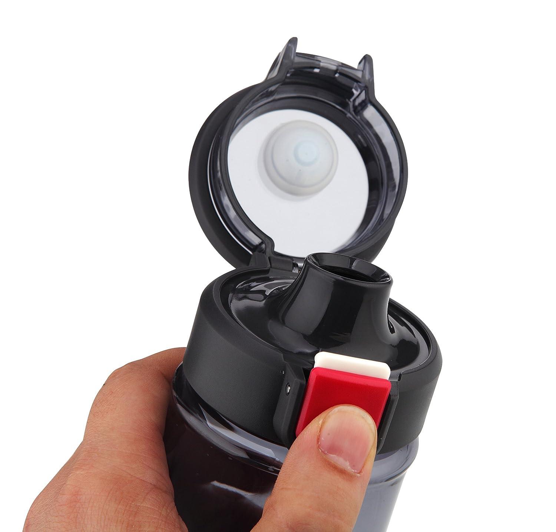 Auslaufsicher Sichere 1-klick-/Öffnung sp/ülmaschinengeeignet TASTELIO 2er Set Trinkflasche BPA-frei aus Tritan mit Fruchtsieb f/ür Alltag Sport Freizeit Schule Reisen 730ml