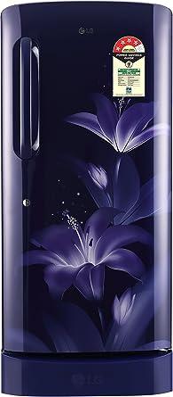 LG 215 L 4 Star Direct Cool Single Door Refrigerator(GL-D221ABGX.DBGZEBN, Blue Glow, Base Stand with Drawer, Smart Inverter Compressor)