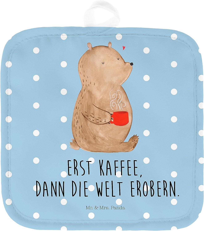 Mr Topfuntersetzer /& Mrs Farbe Blau Pastell Panda Topflappen Set 2er Set Topflappen B/är Kaffee mit Spruch