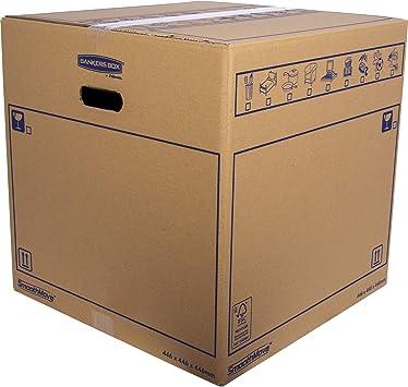 BANKERS BOX 6207401 Pack 10 Cajas de Cartón 44,5 x 44,5 x 44,5 cm con Asas para Mudanzas, Almacenaje y Transporte Ultraresistentes, Canal Doble Reforzado (Talla XXL) 88,5 litros: Amazon.es: Oficina y papelería