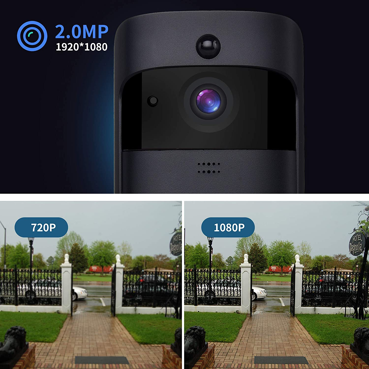 Wireless Video Doorbell Onlyee Wifi Ip 65 Waterproof With Time Integrated Electronic Without Audio Transformer Hd 1080p Real Two Way Pir Motion Detection And Free Cloud Service