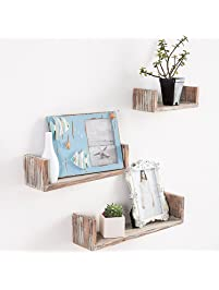 Wall Mounted Torched Wood U Shaped Floating Shelves, Set Of 3, Dark Brown