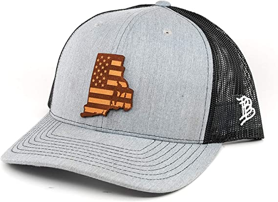 Branded Bills Patriot Leather Patch Hat Curved Trucker