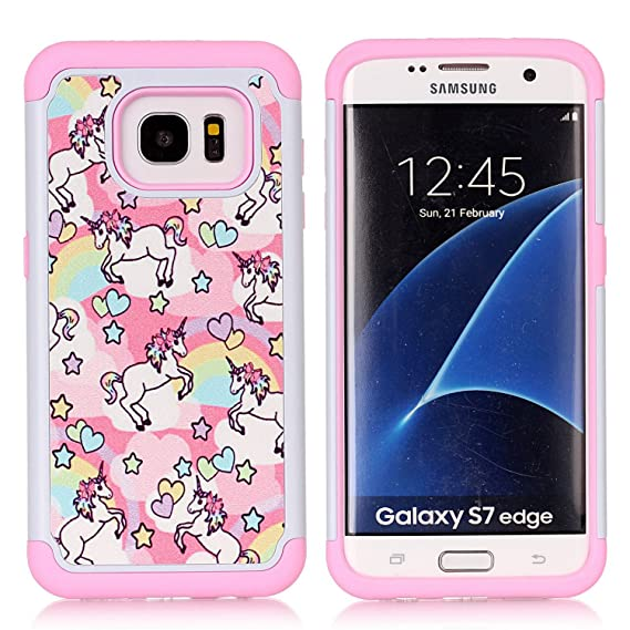 size 40 86adf bb0b1 Galaxy S7 Edge Case, Rainbow Unicorn Patchwork Pattern Shock-Absorption  Hard PC and Inner Silicone Hybrid Dual Layer Armor Defender Protective Case  ...