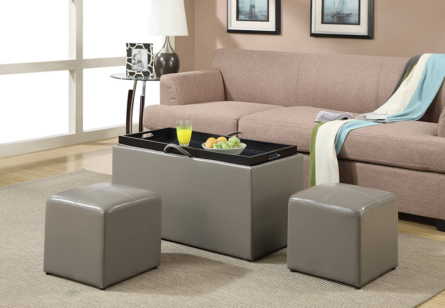 amazoncom convenience concepts designscomfort sheridan faux leather storage bench with  side ottomans gray kitchen amp dining: storage bench for living room