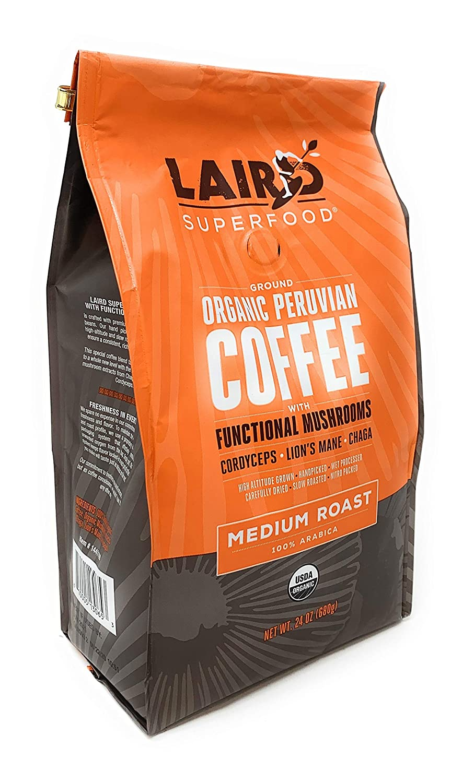 Laird Superfood Organic Peruvian Coffee with Functional Mushrooms (24oz. Ground)