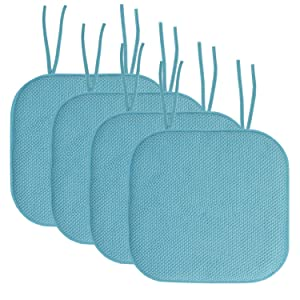 "Sweet Home Collection Chair Cushion Memory Foam Pads with Ties Honeycomb Pattern Slip Non Skid Rubber Back Rounded Square 16"" x 16"" Seat Cover, 4 Pack, Teal"