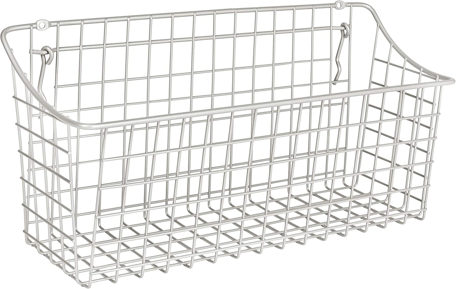 """Spectrum Diversified 15"""" x 5"""" x 7"""" Pegboard & Wall Mount XL Wire Basket for Slatwall & Pegboard, Home & Garage Storage, Versatile Wall Organizer for Tools & Craft Supplies, Extra Large, Silver"""