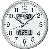 SEIKO CLOCK 精工无线电挂钟 银色 显示日历·温度·湿度 KX383B