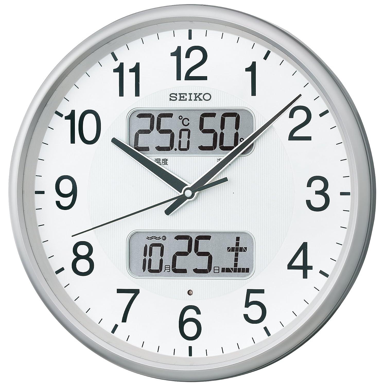 セイコー クロック 掛け時計 電波 アナログ カレンダー 温度 湿度 表示 銀色 メタリック KX383S SEIKO B00IHUVKJA 銀色メタリック 銀色メタリック