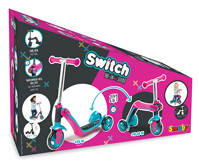 Amazon.com: Smoby Reversible 2 in 1 Scooter, Pink: Toys & Games