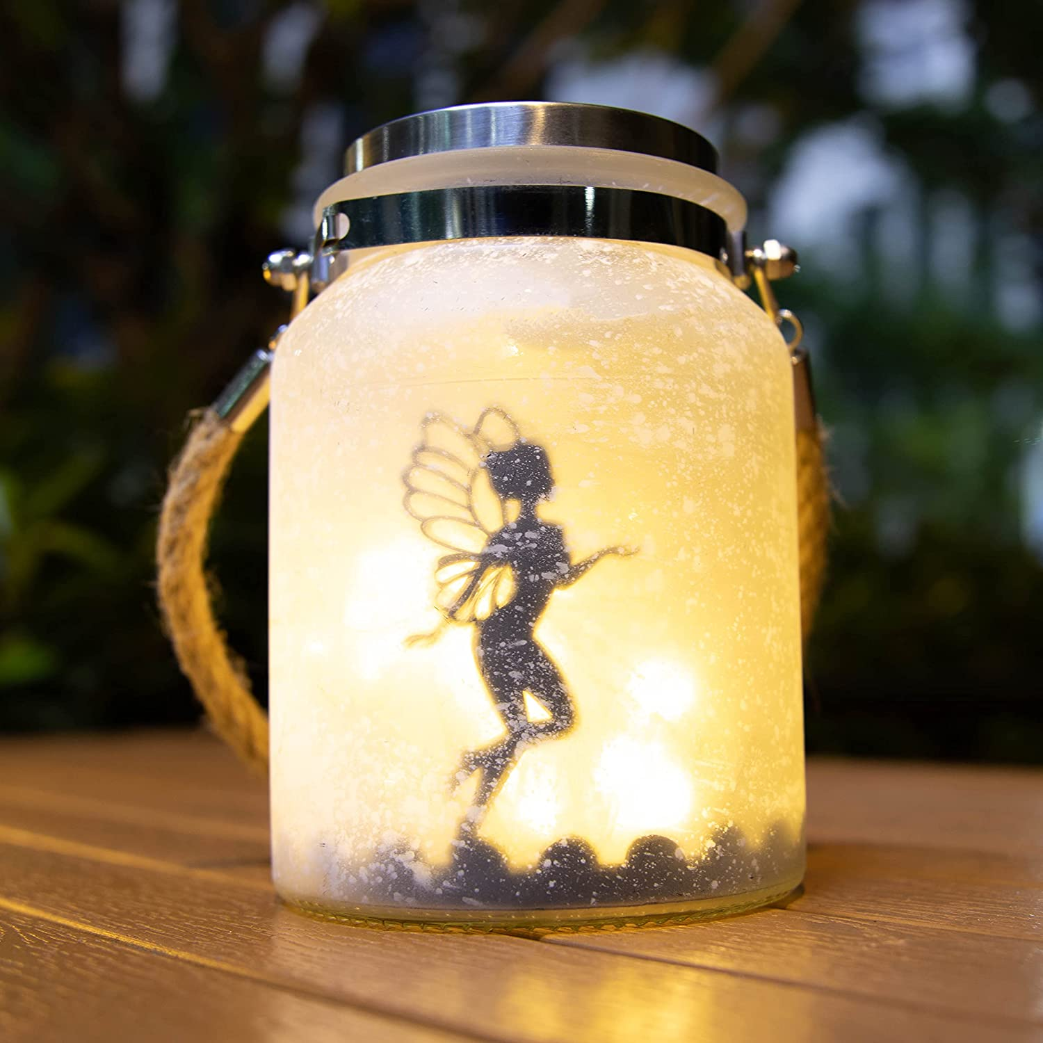 Solar Fairy Lantern Fairy Decor White Frosted Glass Hanging Jar Solar Outdoor Lights Fairy Decorations for Gifts