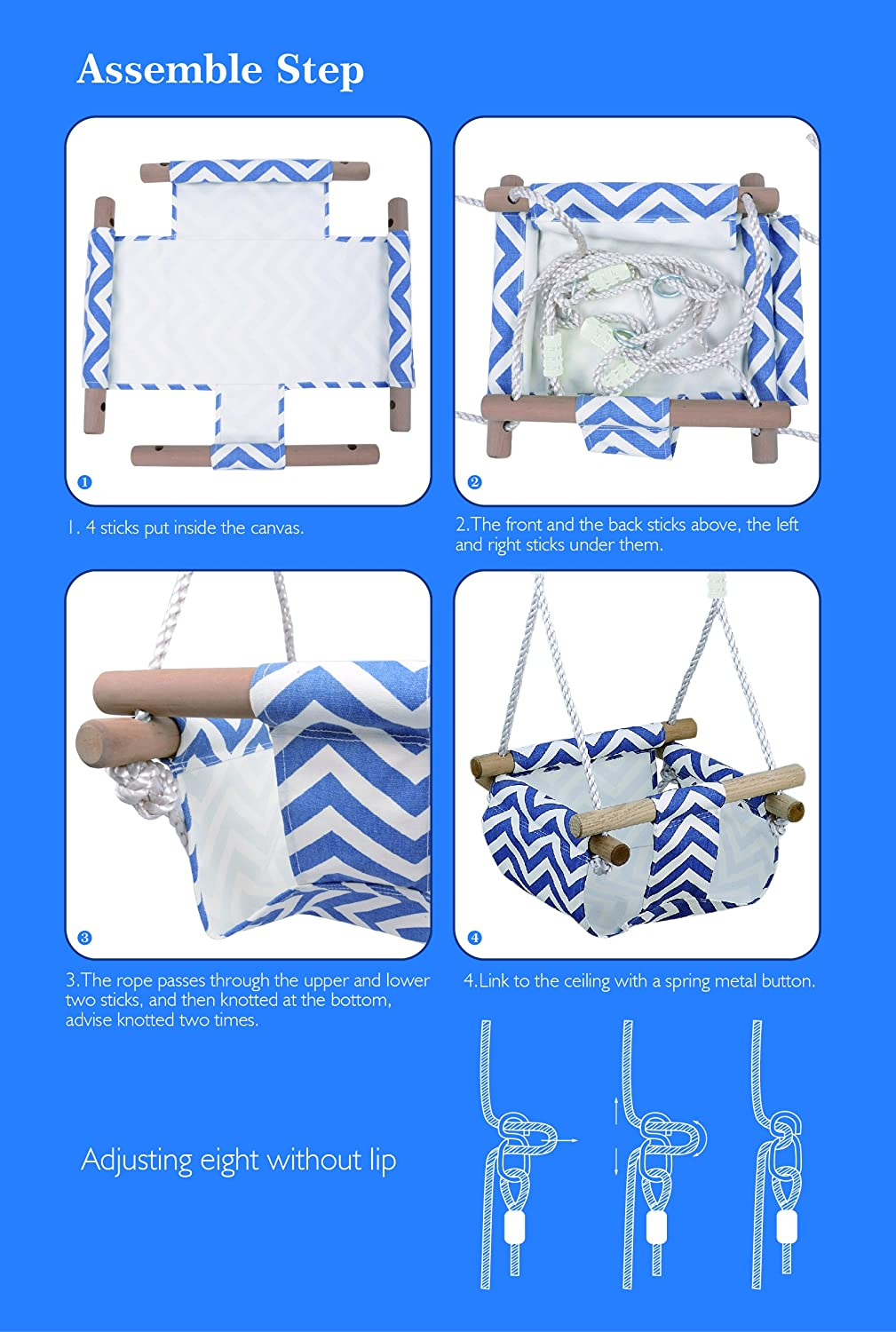 Blue HappyPie Infant to Toddler Secure Hanging Swing Seat Indoor and Outdoor Hammock Toy