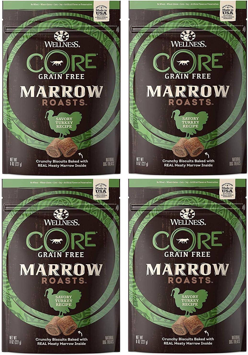 Wellness Core 4 Pack of Marrow Roasts, 8 Ounces Each, Savory Turkey Grain-Free Dog Treats