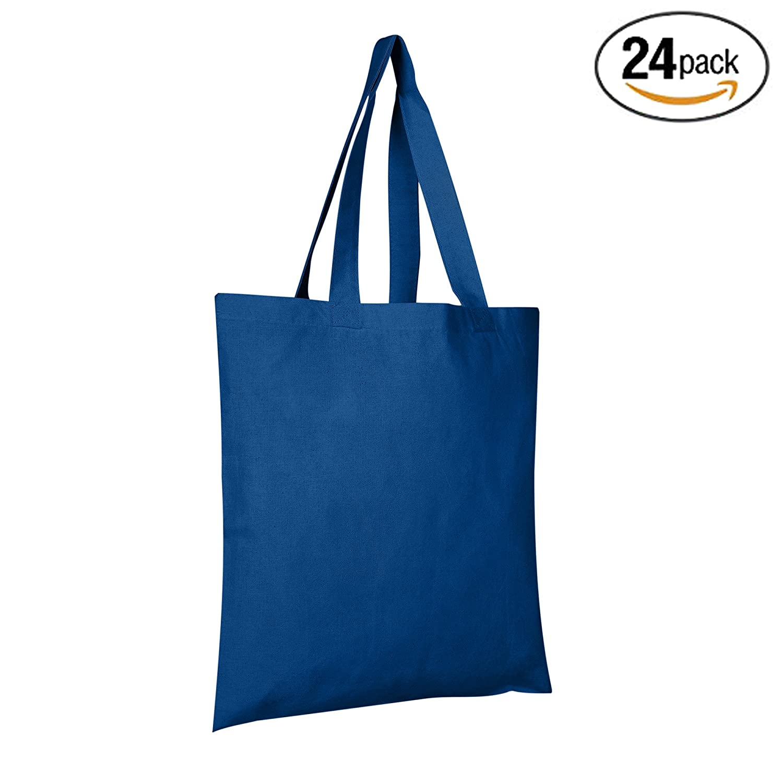 BagzDepot (バグデポット) コットントートバッグ 6オンスファブリックトートバックは再利用可能な食料品バッグです。 15