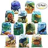 Dinosaur Party Supplies Favors Bags for Kids Boys and Girls Birthday 12 Pack Dino Drawstring Goody Gift Pouch