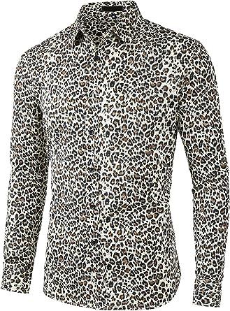 Lars Amadeus Camisa Casual Algodón Manga Larga con Botones Estampado De Leopardo Vintage para Hombres: Amazon.es: Ropa y accesorios