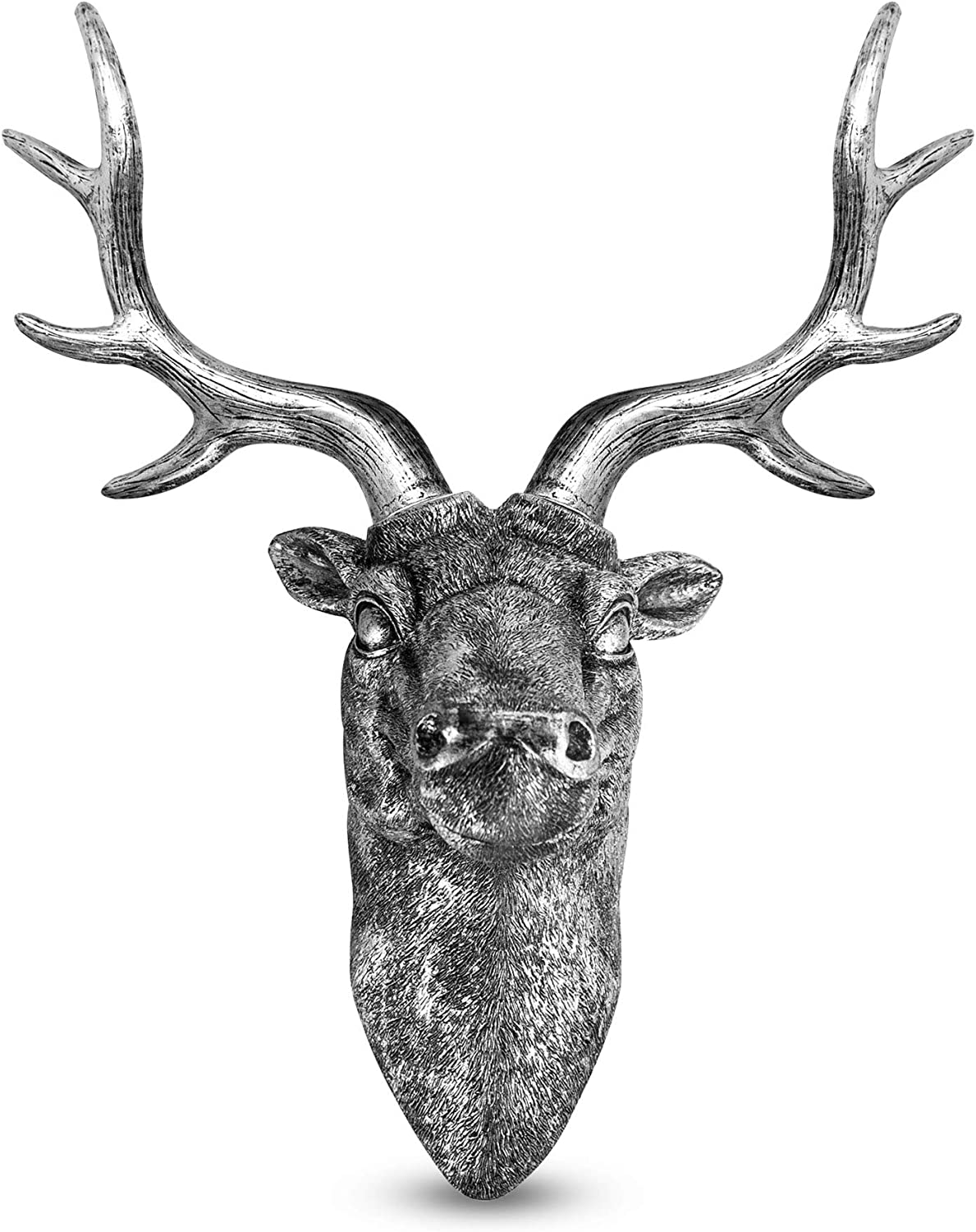 Stag Deer Head Wall Sculpture   Wall Decor Ornament   Home Decoration with Antique Finish   Resin Wall Art   Fixings Included   M&W (Silver)