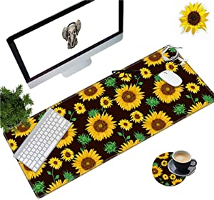 Large Gaming Mouse Pad with Stitched Edges, Desk Pad Protector, Computer Keyboard Mouse Mat Non-Slip Cute Desk Decor for Home/Office/Study Accessories+ Coaster and Stickers, Sunflower Yellow