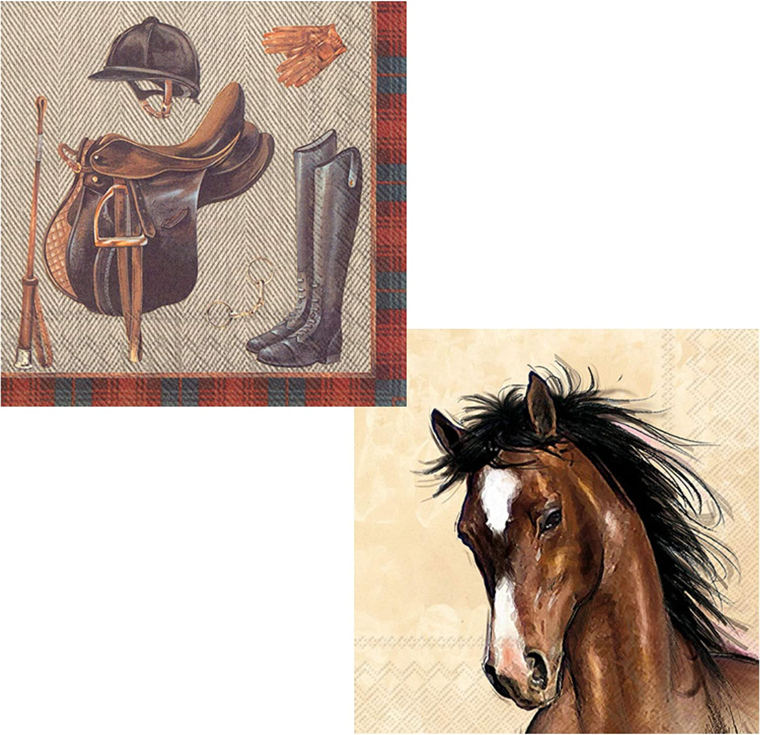 Horse Riding Equestrian Themed Beverage Napkins Variety Pack | Bundle Includes 40 Total Paper Cocktail Napkins | 2 Horse Riding Designs