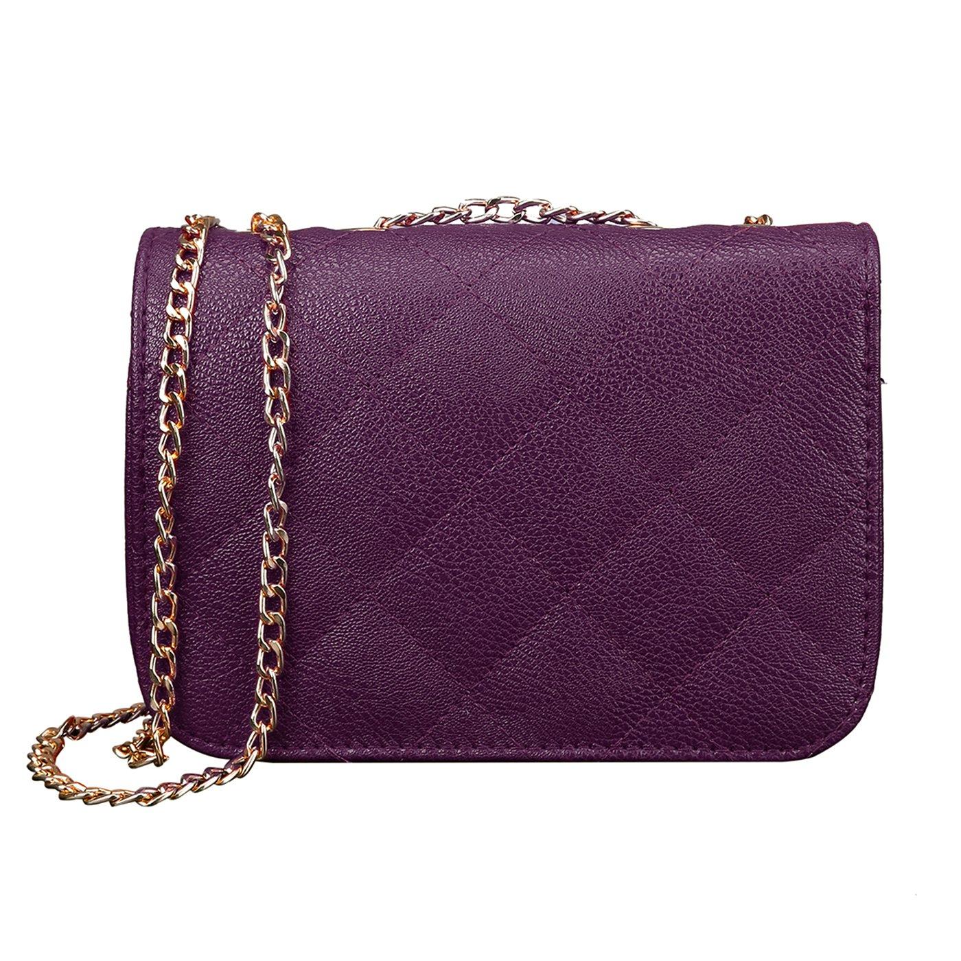 b8acd05e5cb HDE Women s Small Crossbody Handbag Purse Bag with Chain Shoulder Strap ( Dark Purple)  Amazon.in  Shoes   Handbags