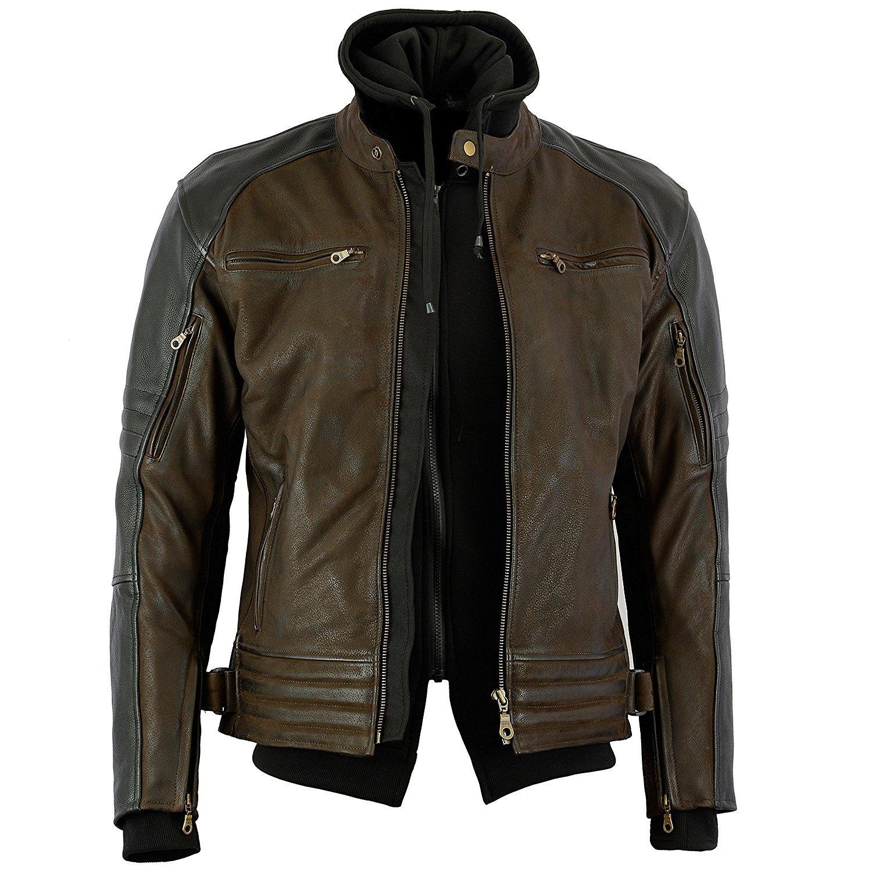 Bikers Gear Australia Limited The Craig - Chaqueta de piel de vaca con capucha color marrón con mangas negras, color marrón y negro